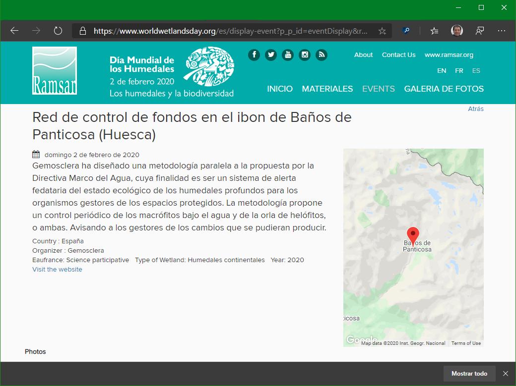 Detalle de la información mostrada en el geoportal: mapa con la localizacón y resumen de la misma.